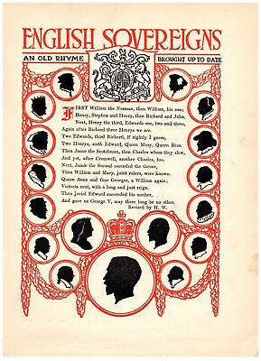 Vintage BOOK Print 1920's art deco childrens graphic-English Sovereigns Rhyme