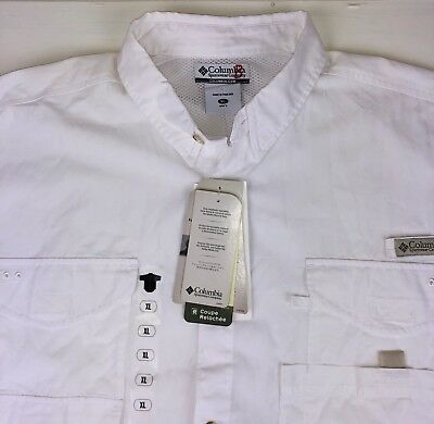 65f5f36b73f Columbia Sportswear Mens XL PFG Performance Fishing Gear Vented Shirt White