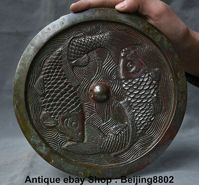 """8.8"""" Rare Antique Chinese Dynasty Copper Palace Double Fish Tang Bronze Mirror"""