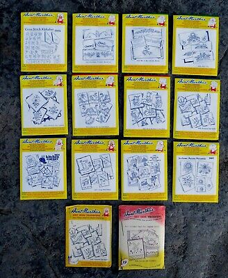 Lot x14 AUNT MARTHA'S Hot Iron Transfers, Embroidery, Linens Towels, NEW & Uncut
