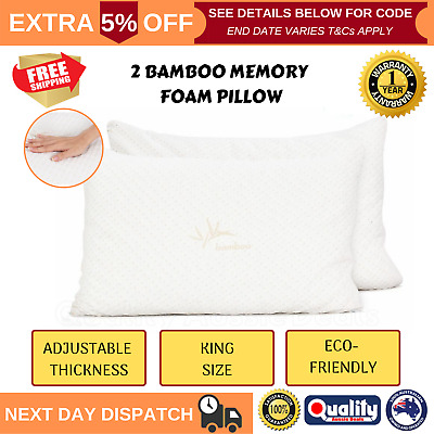 2 X King Bamboo Memory Foam Pillow Adjustable Thickness Gel Infused Twin Pack