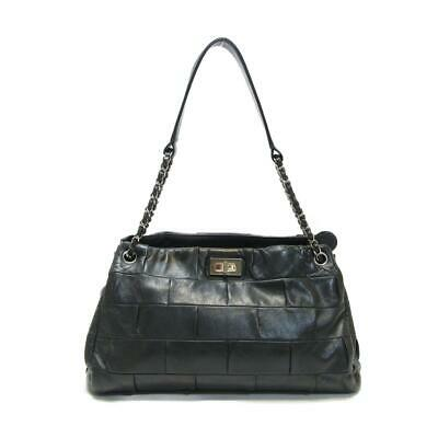 ce27b929f52e5b Auth CHANEL 2.55 Patchwork Chain Shoulder Tote Bag Black Leather Used  Vintage