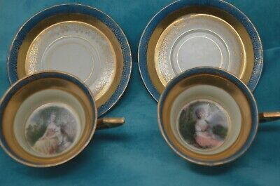 2 Royal Vienna Gold Gilt Mrs Sheridan & Mrs. Robinson PORTRAIT Cups & Saucers