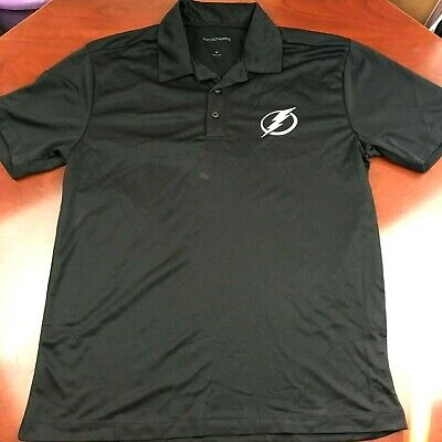 a12026c8 NEW TAMPA BAY Lightning Black Mens Polo White Embroidered Logo New!