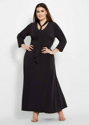 be9c7513dc7 Ashley Stewart - Tie Neck Solid Maxi Dress - Black Size 22 24