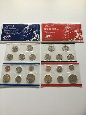 2005 US Mint Uncirculated P & D Complete Coin Set Unopened Box