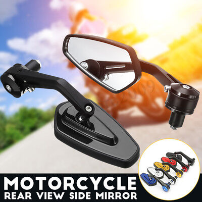 Universal Motorcycle 7/8'' 22mm Aluminum Rear View Side Mirror Handle Bar End !