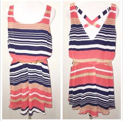 ZARA BLUE RED STRIPED CAMI STRAPPY TOP XS EXTRA SMALL L LARGE UK 8 14 BNWT