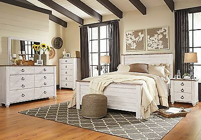 Ashley Furniture Willowton Queen 6 Piece Panel Bed Set