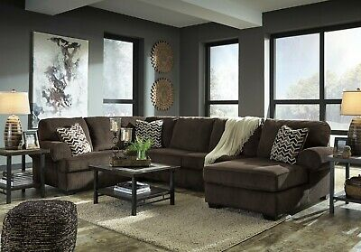 ASHLEY FURNITURE JINLLINGSLY Chocolate 3 Piece Sectional Living Room ...