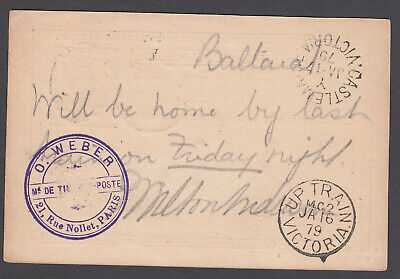Victoria TPO - 1879 Postcard with TPO2-Up3 Rated S