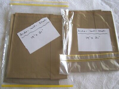 Aida 14Ct Khaki Fabric 3 Pieces @ 48Cm X 53 Cm Each  New Unused