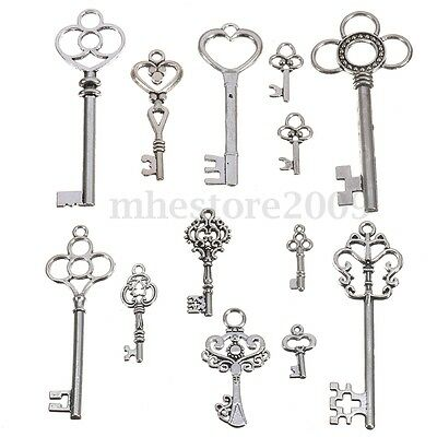 13 Antique Vintage Old Look Skeleton Keys Lot Silver Tone Pendants Mix Jewelry !