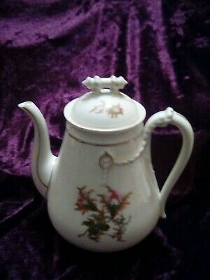 Antique Haviland Limoges Coffee pot Teapot Moss Rose  and Rope design.