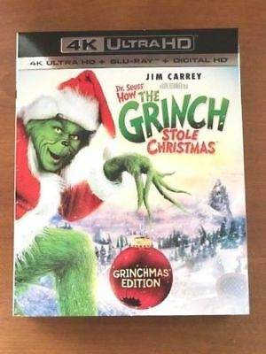 How the Grinch Stole Christmas 4K ULTRA HD + Blu Ray + Digital HD & Slipcover