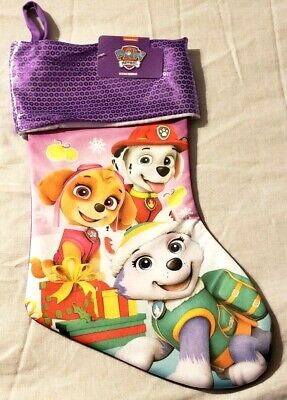 "Stocking Paw Patrol Nickelodeon Christmas Pups Shiny Fabric At Top 17"" Long New"