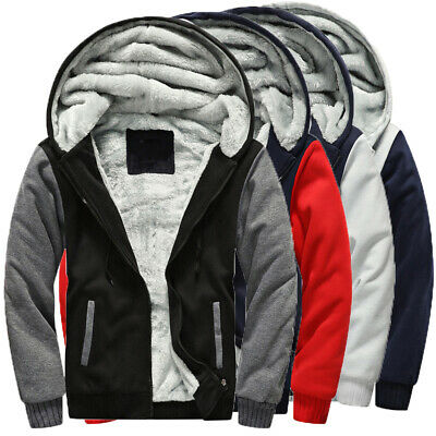 Mens Boys Warm Fleece Coat Winter Long Sleeve Thicken Hoodies Sweatshirts Jacket