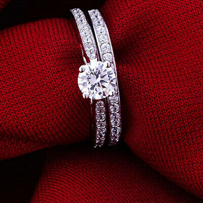 2Pcs Womens Mens Lover CZ Silver Plated Wedding Zirconia Crystal Ring Jewelry