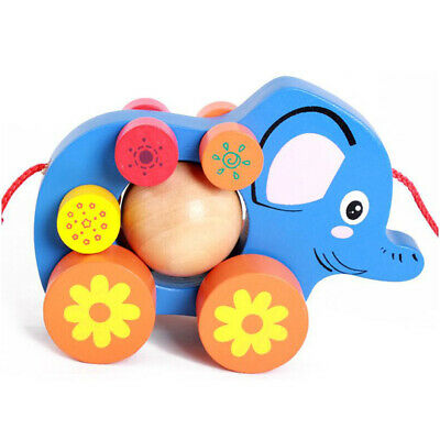 Baby Walker Toy with Wheel Elephant Walker Wooden Activity Walker for Baby ST