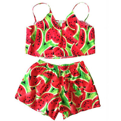 UK 2Pcs Toddler Kids Baby Girl Watermelon Crop Tops Shorts Pants Outfits Clothes