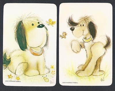 #920.516 Blank Back Swap Card -MINT pair- Dog with butterfly & dog with bird