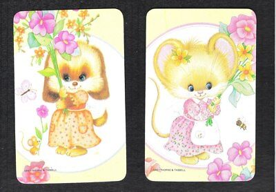 #915.025 Blank Back Swap Cards -MINT pair- Mouse with bee & Dog with butterfly