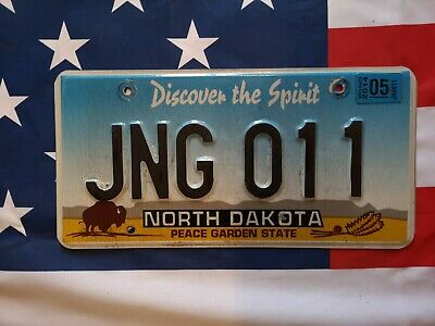 Plaque d'immatriculation North Dakota JNG-011 US USA License Plate