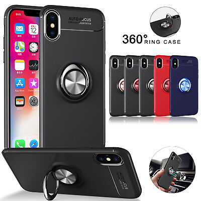 For iPhone XS XS Max XR X Ring Magnetic Shockproof Hybrid TPU Phone Case Cover