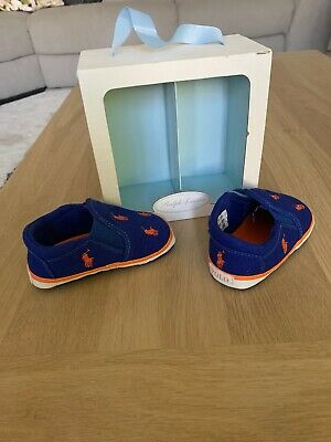Ralph Lauren Baby Boy Crib Shoes UK Size 3.5 Royal Blue Orange RRP £45