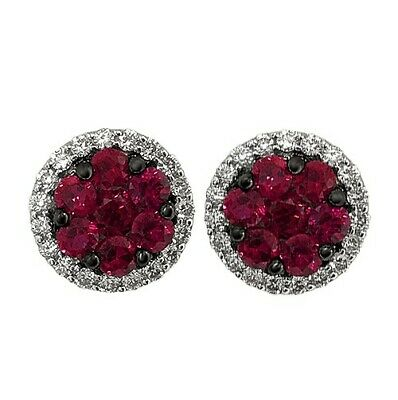 2Ct Round Cut Pink Ruby Cluster Diamond Halo Stud Earrings 14K White Gold Finish
