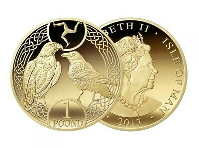Rare Isle of Man IOM Raven and Falcon 2017 £1 One Pound Coin *CHEAPEST ON eBAY*