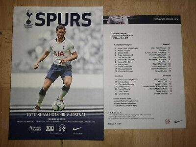 Tottenham Hotspur (Spurs) v Arsenal 2019 Official Wembley Programme + Team Sheet