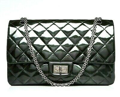 a96401adee09 CHANEL Green 2.55 Reissue Quilted Classic Patent Leather 227 Jumbo Flap Bag