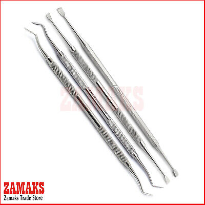 Set Of 4 Dental Spoon Excavators Removal Carious Floss Care Tooth Scraper Tartar
