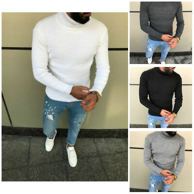 Men Pullover High Collar Winter Sweater Men's Slim Fit Pullovers Casual Sweater