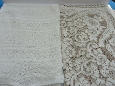 Two Vintage Crochet/Lace Tablecloths  Tearoom/Wedding/Home