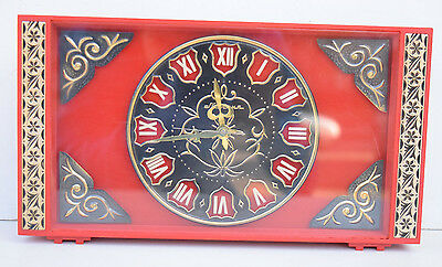 Molnija Made In USSR Vintage Amazing Red Dial & Case 10 Day Wind Up Desk Clock