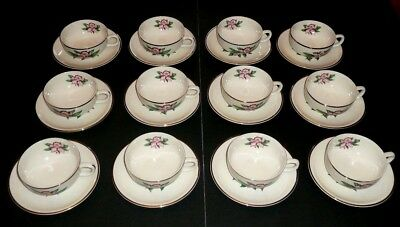 Vintage Paden City MODERN ORCHID 22kt Warranted Gold SET of 12 CUPS and SAUCERS
