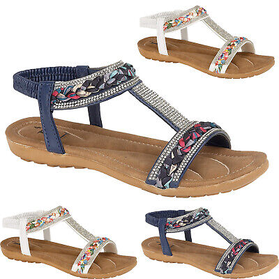 Womens Ladies Flat Sandals Diamante Low Wedge Shiny Comfort Summer Fashion Shoes