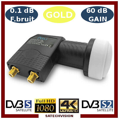LNB Twin Tête Universelle 0,1 dB Gain 60 dB Full HD 3D Ultra HD 4K Gold