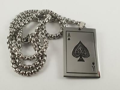 Stainless Steel Ace of Spades playing card pendant and necklace 60cm poker Biker