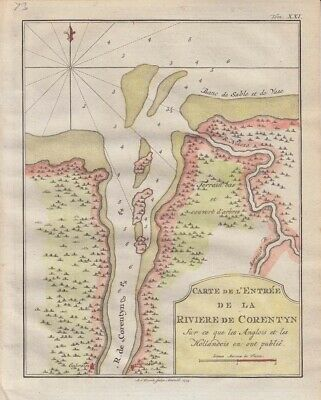 1773  Bellin Map of Guiana/Surinam - Corentyn River