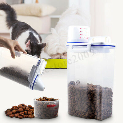 1.5L-2L Pet Food Container Dog Cat Animal Storage Box Bin Dry Feed Seed  !