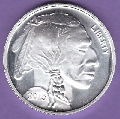 SILVER INDIAN HEAD BUFFALO SILVER ROUND 1oz 999 FINE SILVER 2015 TROY OUNCE New