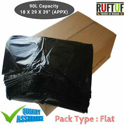 200 X Black EXTRA HEAVY DUTY 160G Refuse Sacks Strong Bin Liners Rubbish Bags
