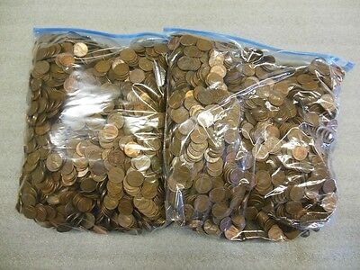 5000 Copper Pennies 1959-81  Free Shipping!! Poor Man's Gold  (Cloth Bag)