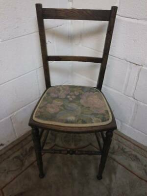 Solid Wood Bar Backed Late Victorian Hall / Bedroom Chair,Turned Front Supports.