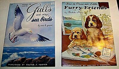 Lot of 2 How to Draw Furry Friends & Seagulls and Birds  Walter Foster Art Books