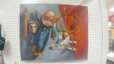 "Bozo the clown  Oil Painting  on Canvas 20h""x24w"""
