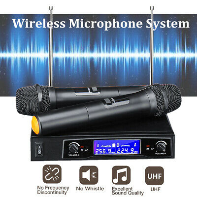 Professional Wireless Microphone Mic System UHF 2 Channel Dual Handheld